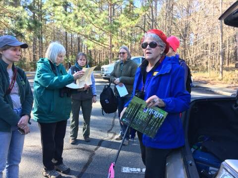 Julie Moore introducing us to the Long Leaf Pine restoration program at Harris Lake County Park.