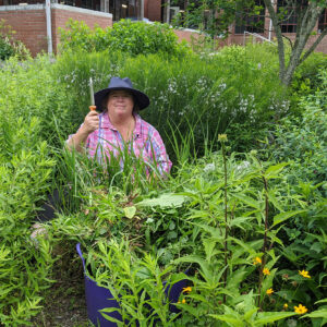Debbie Roos in the Pollinator Paradise Garden in Pittsboro, NC