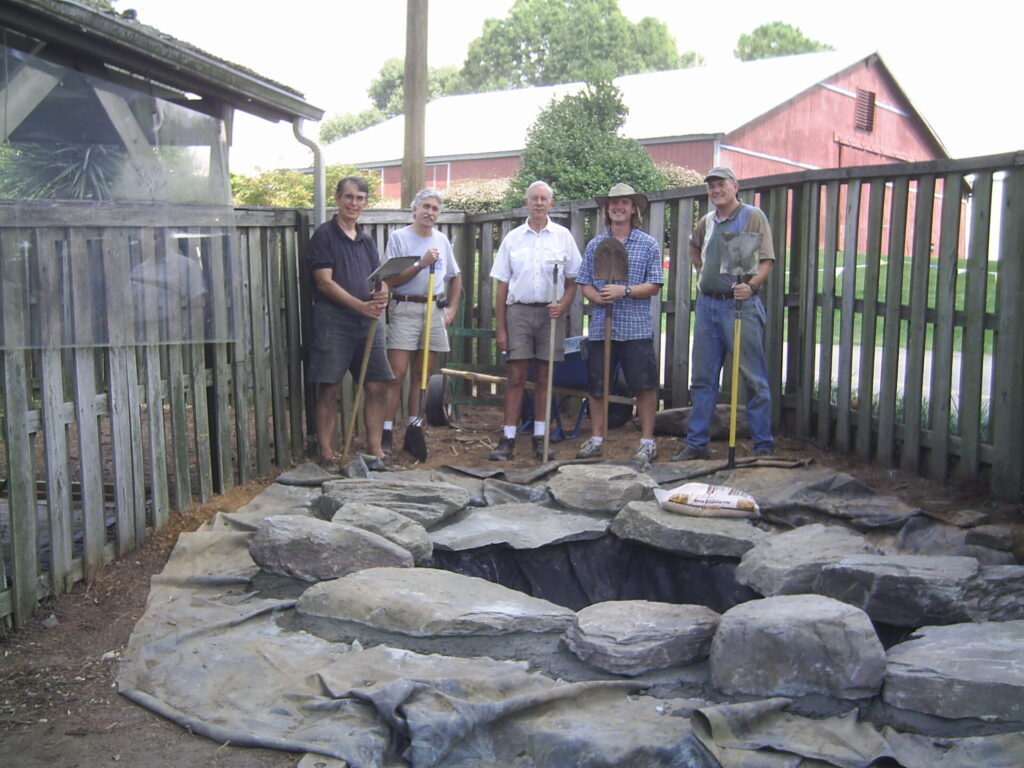 new water feature and volunteers